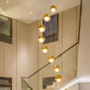 Ball Multi Light Pendant Modernism Amber Glass 8 Bulbs Gold LED Ceiling Lamp for Stair