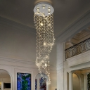 Hand-Cut Crystal Cascade Cluster Pendant Modern 6 Bulbs Silver LED Hanging Light for Living Room