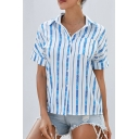 Formal Ladies' Roll-Up Sleeves Lapel Neck Button Down Stripe Printed Relaxed Work Shirt