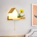 1 Light House Sconce Lamp Industrial Wood Frosted Glass LED Flower Wall Light for Bedroom, Left/Right