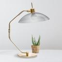 Smoke Gray Glass Domed Task Lighting Contemporary 1 Bulb Nightstand Lamp in Brass