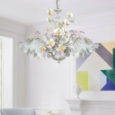 Scalloped Living Room Ceiling Chandelier Pastoral Metal 5 Heads White and Gray Hanging Light Fixture