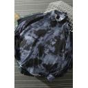 Popular Trendy Men's Long Sleeve Lapel Collar Button Down Splashed Ink Tie Dye Oversize Shirt in Black