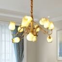 Tulip Metal Chandelier Light Countryside 12 Bulbs Living Room LED Pendant Lamp in Gold