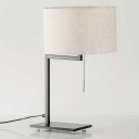 1 Bulb Drum Task Lighting Modernist Fabric Reading Book Light in White with Pull Chain