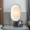 Resin Oblong Table Lamp Modernist LED White Task Lighting with Black Marble Base