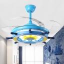 Acrylic Rudder Ceiling Fan Lamp Kids LED Bedroom 4 Blades Semi Flush Mounted Light in Pink/Blue/White, 42