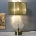 Shaded Desk Light Modernism Fabric 1 Head Nightstand Lamp in Gold with Crystal Leaf