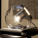 Clear Glass Sphere Nightstand Lamp Modernist 1 Head Task Lighting with Metal Base