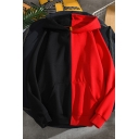 Kpop Boys' Long Sleeve Colorblocked Pouch Pocket Relaxed-Fit Hoodie