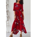 Gorgeous Ladies' Three-Quarter Sleeves Round Neck All Over Floral Print Maxi Pleated Flowy Dress in Burgundy