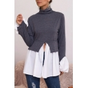 Elegant Chic Women's Long Sleve High Neck Patchwork Cut Out Pleated Loose Fit T-Shirt
