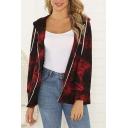 Casual Trendy Women's Long Sleeve Drawstring Hooded Zipper Front Tie Dye Relaxed Fit Jacket
