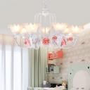 Rose White Glass Chandelier Light Countryside 5/7 Bulbs Living Room LED Pendant Lamp