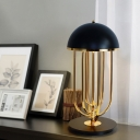 Modernist Dome Task Lighting Metal 1 Bulb Small Desk Lamp in Black/White for Dining Room
