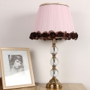Pink Shaded Desk Light Modern 1 Bulb Fabric Table Lamp with Brass Carved Metal Base