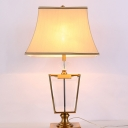 Trapezoid Table Lamp Modern Clear Crystal 1 Head Beige Desk Light with Fabric Shade