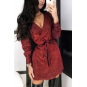 Fancy Amazing Ladies' Long Sleeve Surplice Neck Glitter Tied Waist Plain Short Wrap Nightclub Dress