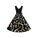 Cute Amazing Girls' Sleeveless V-Neck Bow Tie Waist Floral Printed Patched Scallop Trim Long Pleated Flared Dress