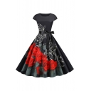 Women's Vintage Short Sleeve Crew Neck Floral Patterned Bow Tie Waist Maxi Pleated Swing Dress in Black