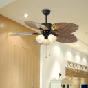 5-Blade Bell Living Room Fan Light Fixture Countryside Opal Glass 42