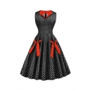 Pretty Girls' Sleeveless Lapel Neck Bow Tie Decoration Polka Dot Print Maxi Pleated Swing Dress