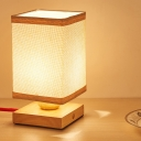 Japanese 1 Bulb Nightstand Lamp Wood Rectangle Task Lighting with Fabric Shade