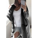 Women's Popular Long Sleeve Solid Color Cable Knit Pockets Long Loose Fit Cardigan