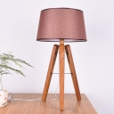 Tapered Drum Nightstand Lamp Contemporary Fabric 1 Head Reading Book Light in Wood/Brown