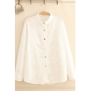 Preppy Girls' White Long Sleeve Lapel Neck Colorful Button Down Lace Relaxed Fit Shirt