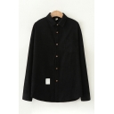 Simple Women's Long Sleeve Solid Color Lapel Collar Button Down Loose Fit Shirt Top