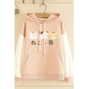 Lovely Girls' Long Sleeve Drawstring Japanese Letter Cat Printed Pouch Pocket Lace Up Colorblock Relaxed Fit Cat Ear Hoodie