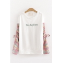 Fancy Popular Girls' Drawstring Sleeves Round Neck Letter NOW THE FUTURE Printed Checkered Panel Relaxed T Shirt