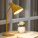 Flare Metal Table Light Modern 1 Bulb Yellow/Pink Nightstand Lamp with Round Beige Wood Base