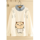 Stylish Street Girls' Long Sleeve Lapel Collar False Two Piece Cat Fishbone Printed Relaxed Fit Pullover Sweatshirt