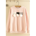 Simple Girls' Long Sleeve Crew Neck Cat Embroidered Pom Pom Loose Fit Sweatshirt Top