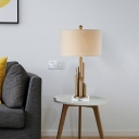 Fabric Cylindrical Desk Lamp Modern 1 Head Reading Light in White for Living Room