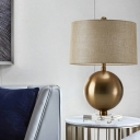 Metal Globe Desk Lamp Modern 1 Head Brass Table Light with Flaxen Drum Fabric Shade