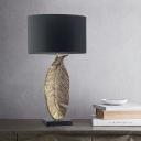 Fabric Shaded Table Light Modernist 1 Bulb Black Small Desk Lamp for Living Room