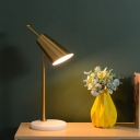 1 Head Bedside Table Light Modernist Gold Small Desk Lamp with Flared Metal Shade