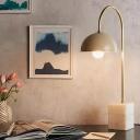 Metal Dome Desk Lamp Modern 1 Bulb Gold Table Light with White Rectangular Marble Base