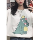 Cute Girls' Short Sleeve Crew Neck Funny Dinosaur Relaxed Fit Tee