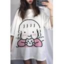 Korean Girls' Short Sleeve Round Neck Cartoon Girl Pattern Oversize Long T-Shirt