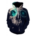 Cool Mens Long Sleeve Drawstring 3D Skull Printed Pouch Pocket Relaxed Hoodie in Black