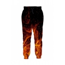 Designer Mens Drawstring Waist Pouring Milk Flame Flag Tie Dye Octopus 3D Patterned Cuffed Carrot Sweatpants