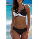 Basic Womens Sleeveless Halter Colorblock Criss Cross Crop Bikini Sets