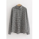 Womens Trendy Long Sleeve Lapel Neck Button Down Plaid Patterned Pockets Side Relaxed Shirt in Black