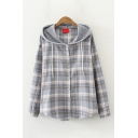Leisure Womens Long Sleeve Hooded Button Down Drawstring Plaid Patterned Curved Hem Relaxed Shirt