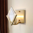 Square Living Room Sconce Light Traditional Clear Glass 1 Head Brass Wall Lighting Fixture