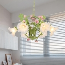 Green 3/6 Bulbs Chandelier Light Pastoral Metal Round LED Pendant Lighting with Rose Decor for Dining Room